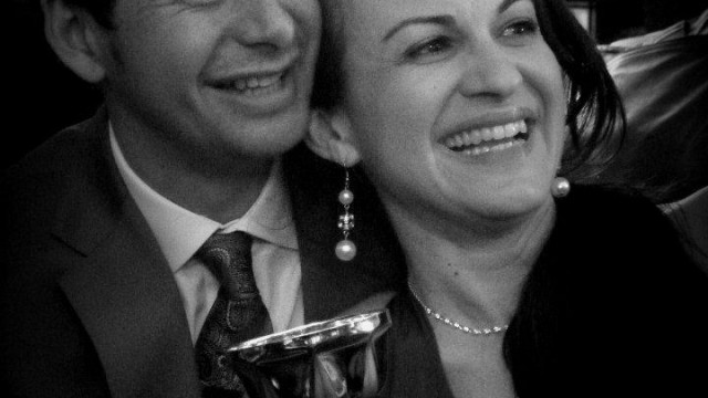 Daniela and Rommel with their Tango Salon trophy.